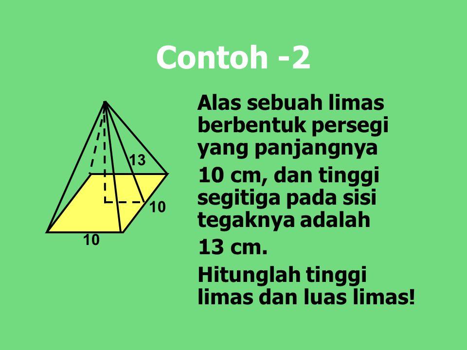 Contoh -2 Alas sebuah limas berbentuk persegi yang panjangnya