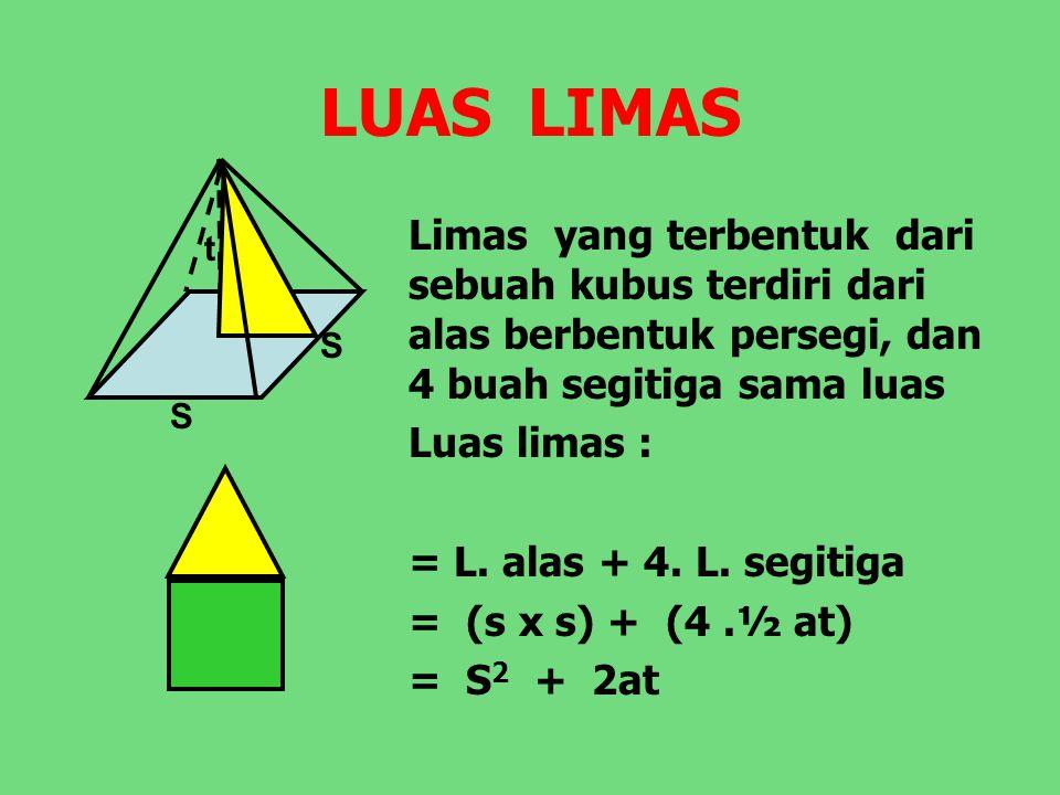 LUAS LIMAS S. t. Limas yang terbentuk dari sebuah kubus terdiri dari alas berbentuk persegi, dan 4 buah segitiga sama luas.