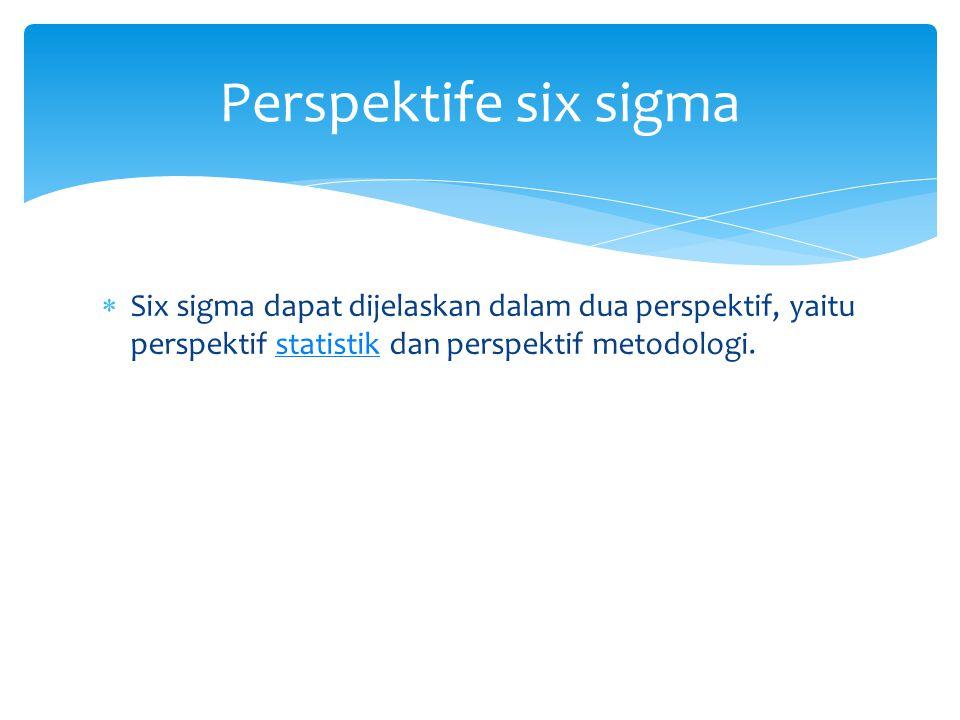 Perspektife six sigma Six sigma dapat dijelaskan dalam dua perspektif, yaitu perspektif statistik dan perspektif metodologi.