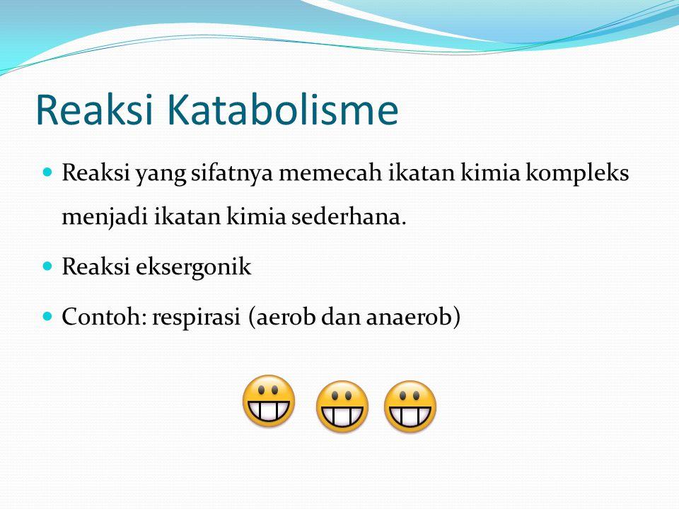 Reaksi Katabolisme Reaksi yang sifatnya memecah ikatan kimia kompleks menjadi ikatan kimia sederhana.