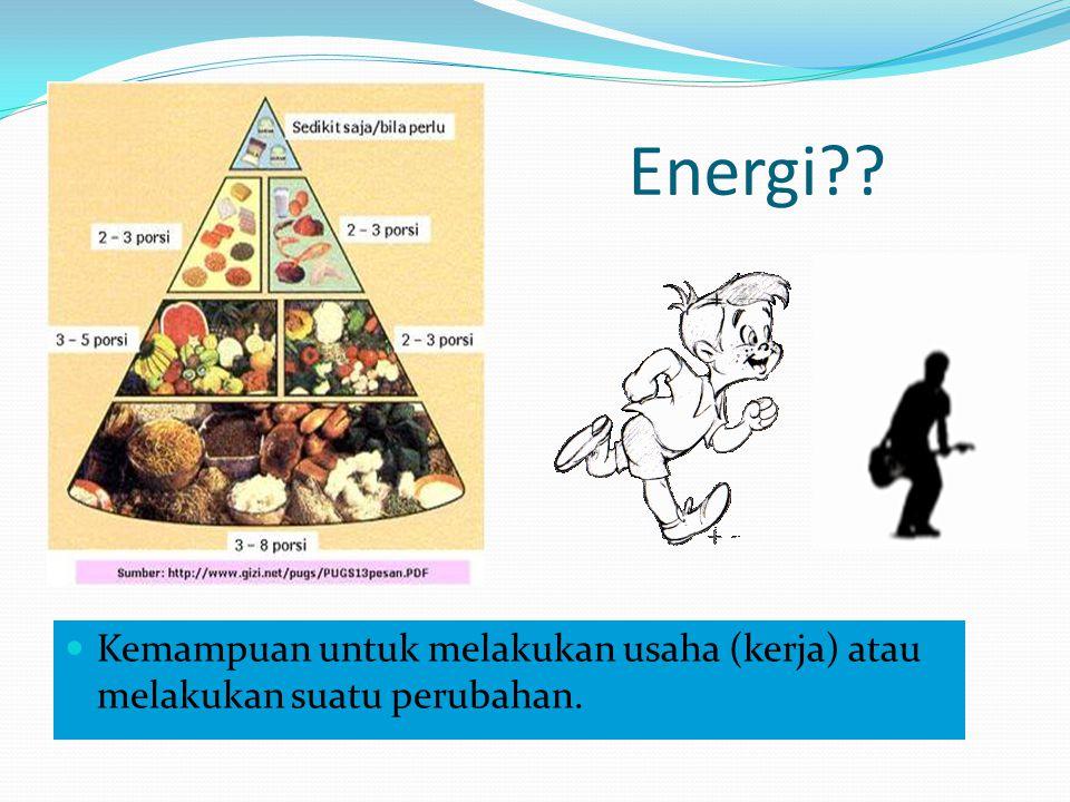 Energi Kemampuan untuk melakukan usaha (kerja) atau melakukan suatu perubahan.