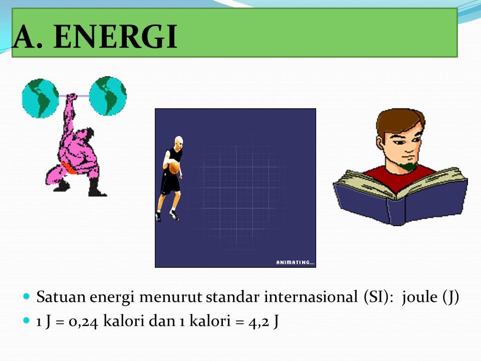 A. ENERGI Satuan energi menurut standar internasional (SI): joule (J)