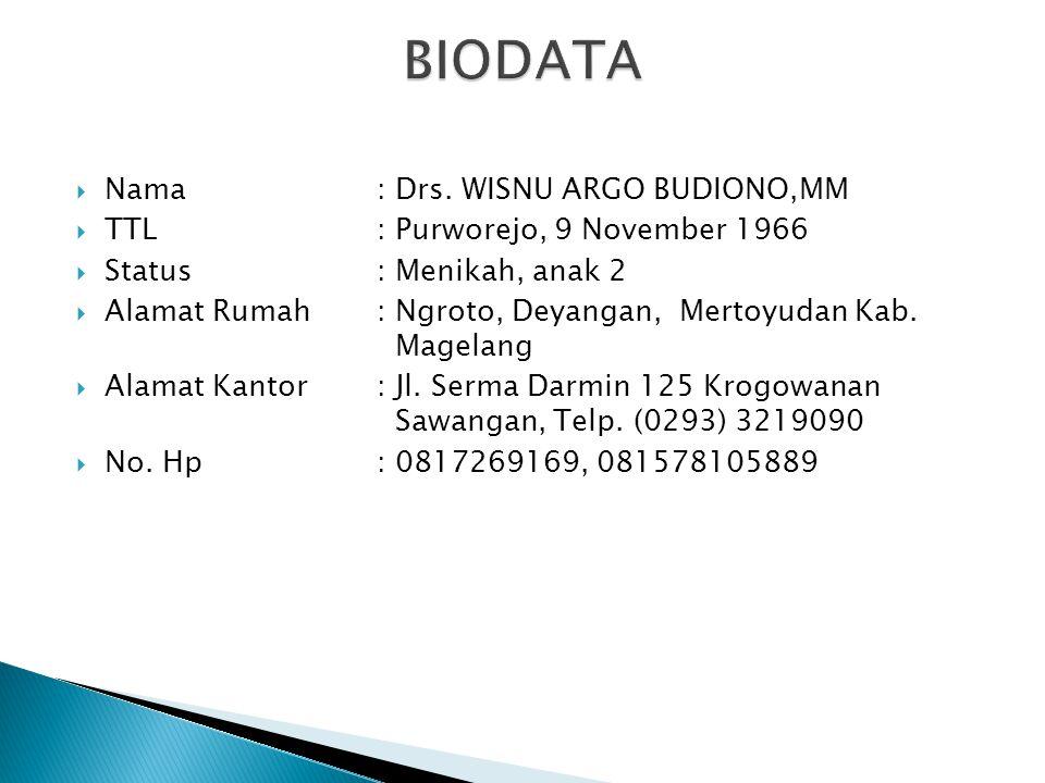 BIODATA Nama : Drs. WISNU ARGO BUDIONO,MM