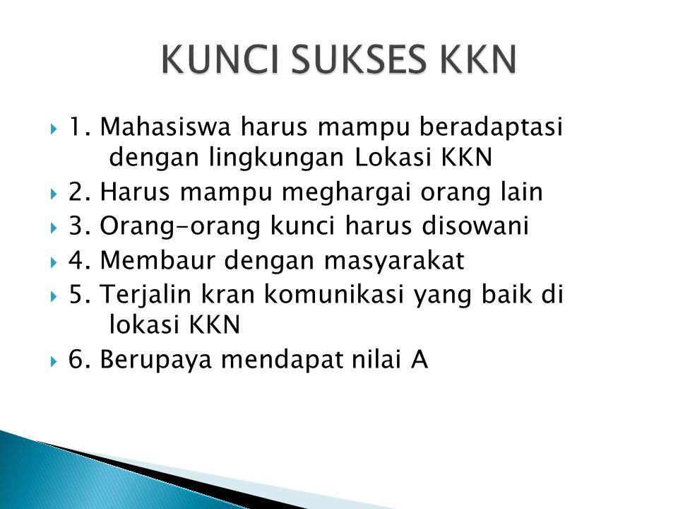KUNCI SUKSES KKN 1. Mahasiswa harus mampu beradaptasi dengan lingkungan Lokasi KKN. 2. Harus mampu meghargai orang lain.