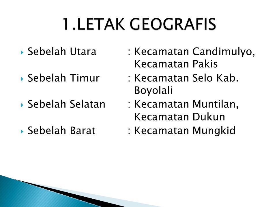 1.LETAK GEOGRAFIS Sebelah Utara : Kecamatan Candimulyo, Kecamatan Pakis. Sebelah Timur : Kecamatan Selo Kab. Boyolali.
