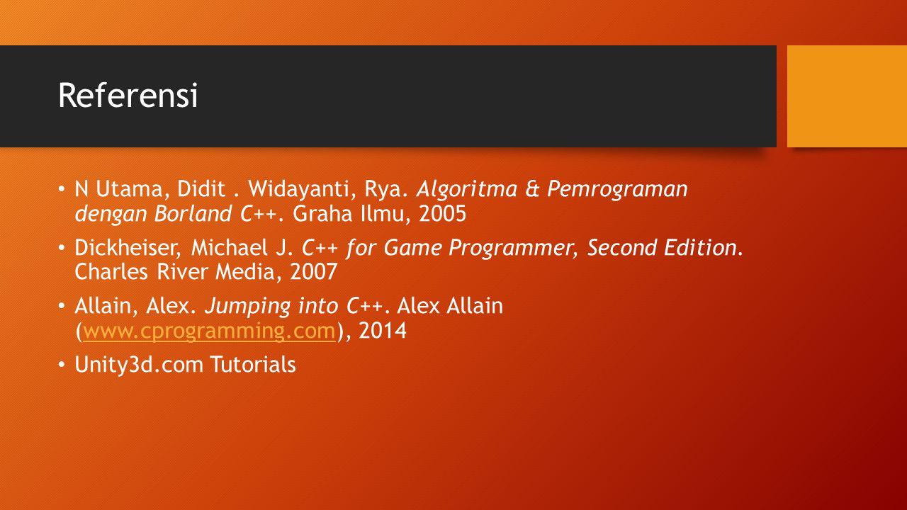 Referensi N Utama, Didit . Widayanti, Rya. Algoritma & Pemrograman dengan Borland C++. Graha Ilmu, 2005.