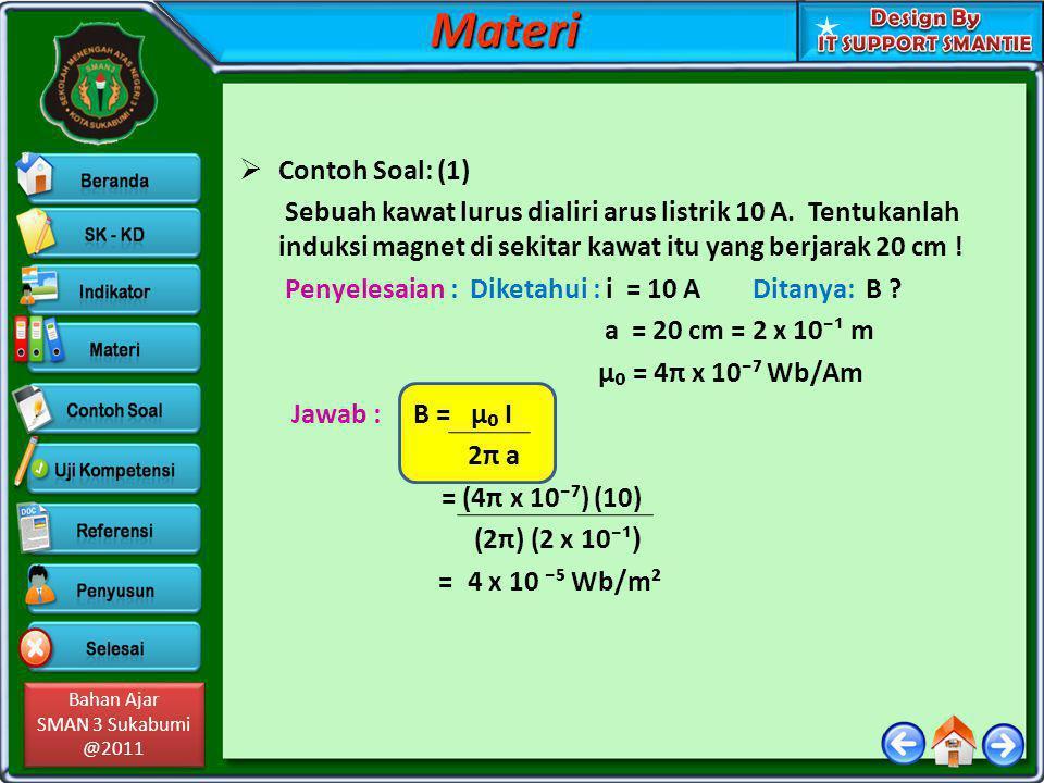 Materi Contoh Soal: (1) Sebuah kawat lurus dialiri arus listrik 10 A. Tentukanlah induksi magnet di sekitar kawat itu yang berjarak 20 cm !