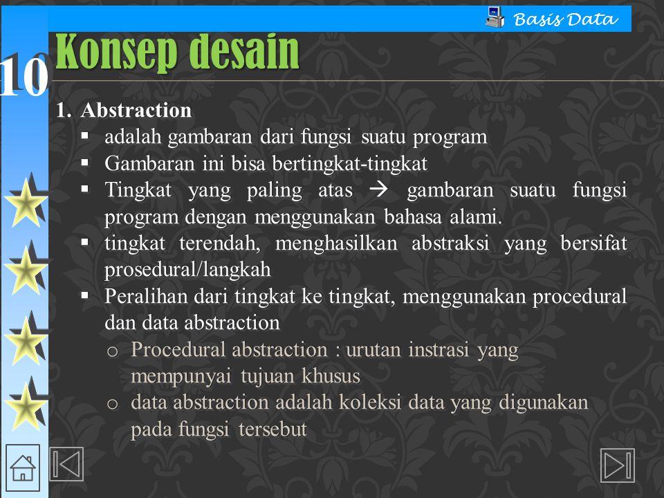 Konsep desain Abstraction adalah gambaran dari fungsi suatu program