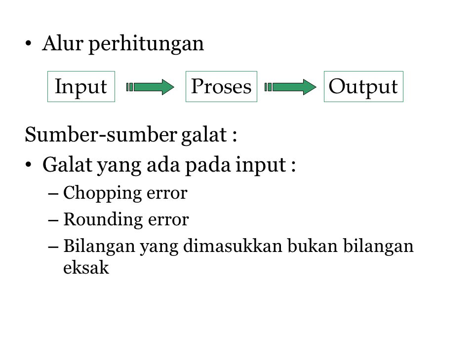 Galat yang ada pada input : Input Proses Output