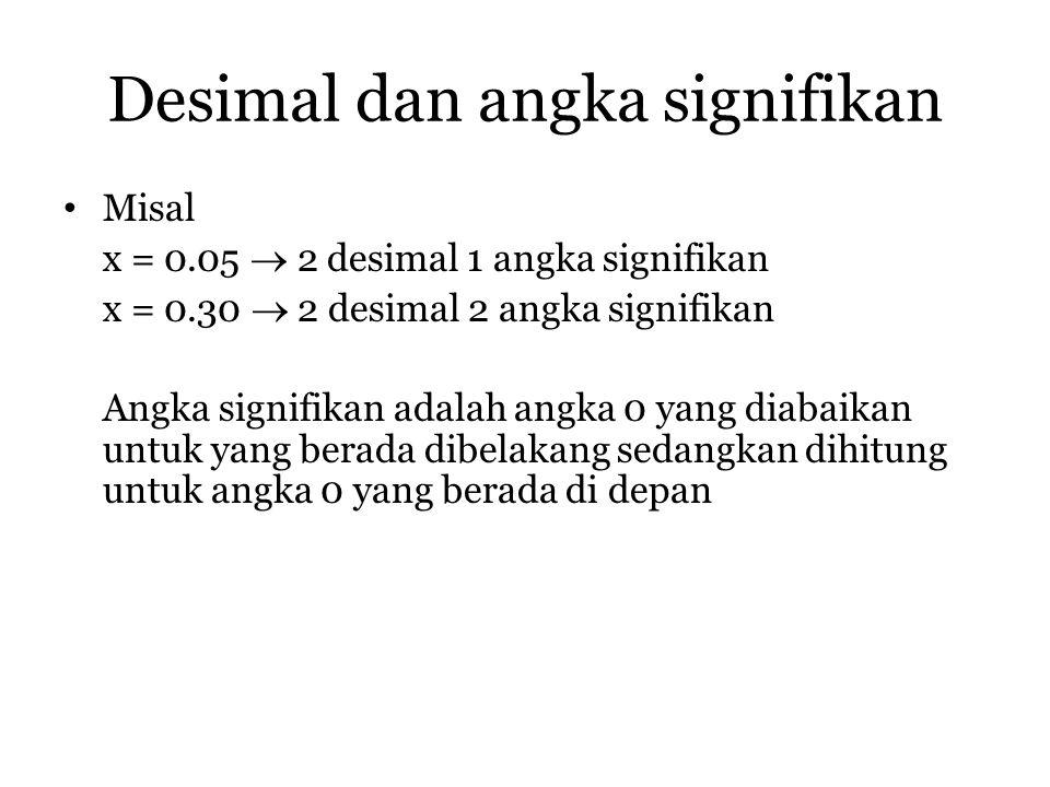 Desimal dan angka signifikan
