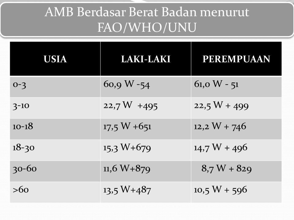 AMB Berdasar Berat Badan menurut FAO/WHO/UNU