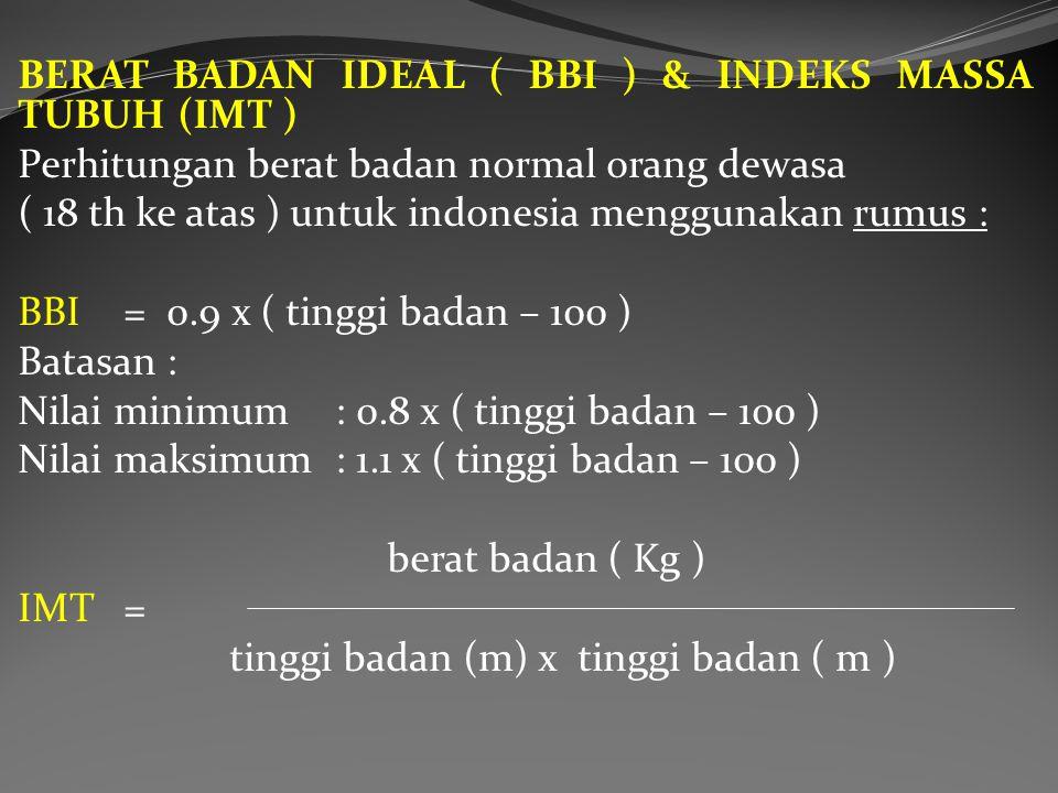 BERAT BADAN IDEAL ( BBI ) & INDEKS MASSA TUBUH (IMT )