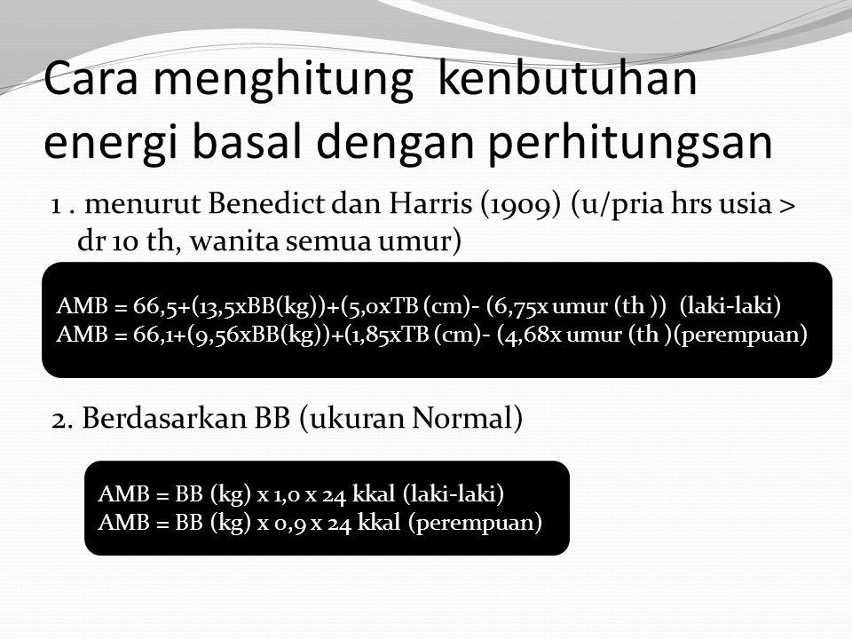 Cara menghitung kenbutuhan energi basal dengan perhitungsan