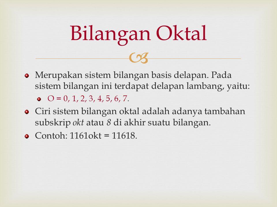Bilangan Oktal Merupakan sistem bilangan basis delapan. Pada sistem bilangan ini terdapat delapan lambang, yaitu:
