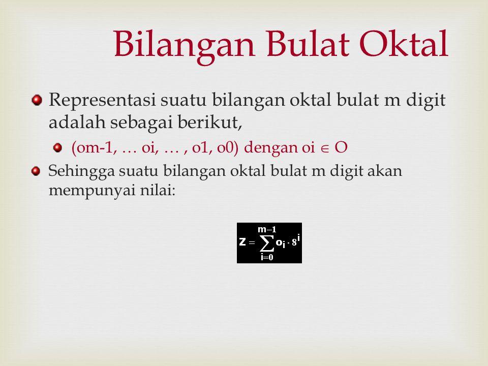 Bilangan Bulat Oktal Representasi suatu bilangan oktal bulat m digit adalah sebagai berikut, (om-1, … oi, … , o1, o0) dengan oi  O.