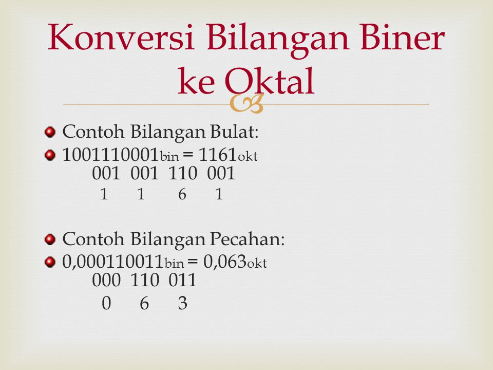Konversi Bilangan Biner ke Oktal