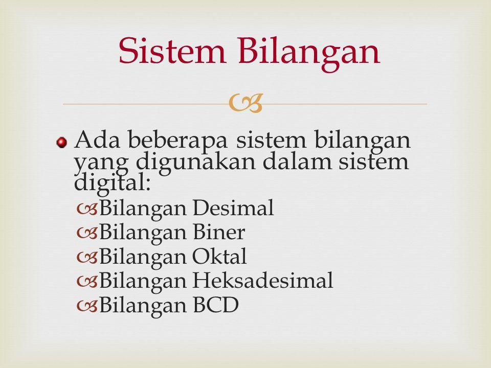 Sistem Bilangan Ada beberapa sistem bilangan yang digunakan dalam sistem digital: Bilangan Desimal.