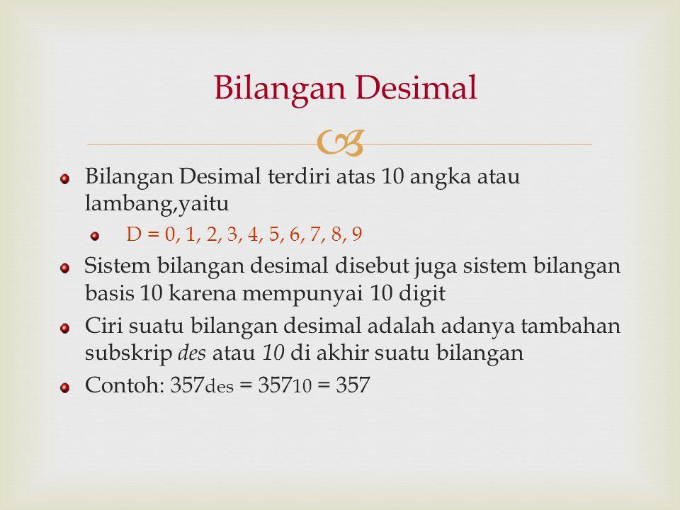 Bilangan Desimal Bilangan Desimal terdiri atas 10 angka atau lambang,yaitu. D = 0, 1, 2, 3, 4, 5, 6, 7, 8, 9.