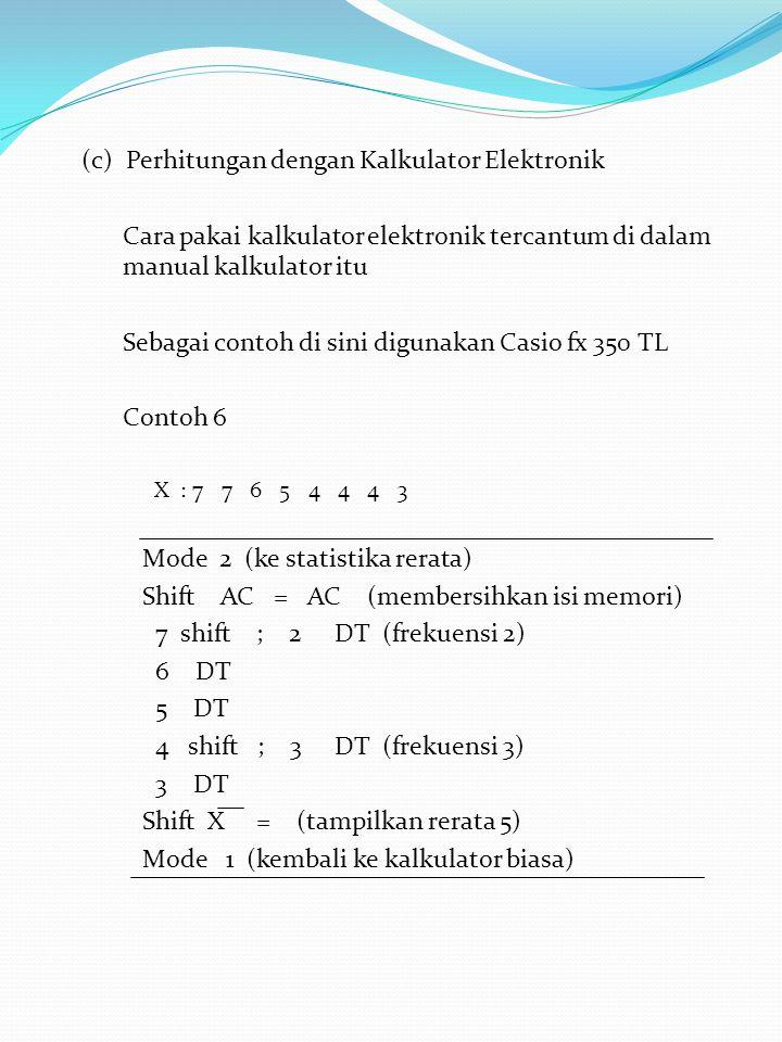(c) Perhitungan dengan Kalkulator Elektronik