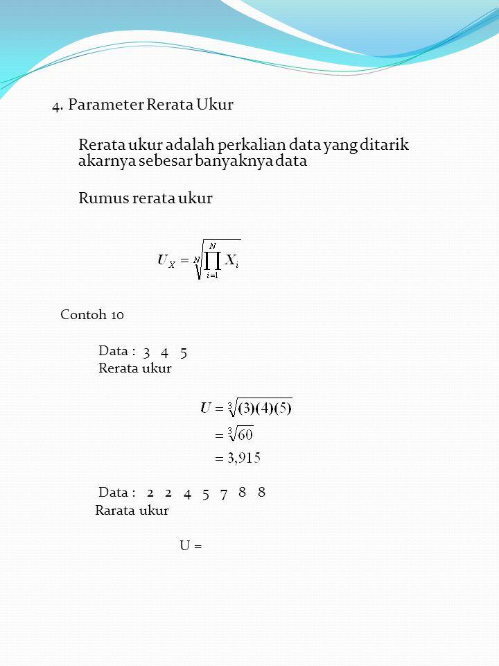4. Parameter Rerata Ukur Rerata ukur adalah perkalian data yang ditarik akarnya sebesar banyaknya data.