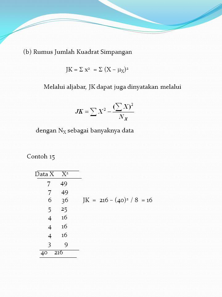 (b) Rumus Jumlah Kuadrat Simpangan