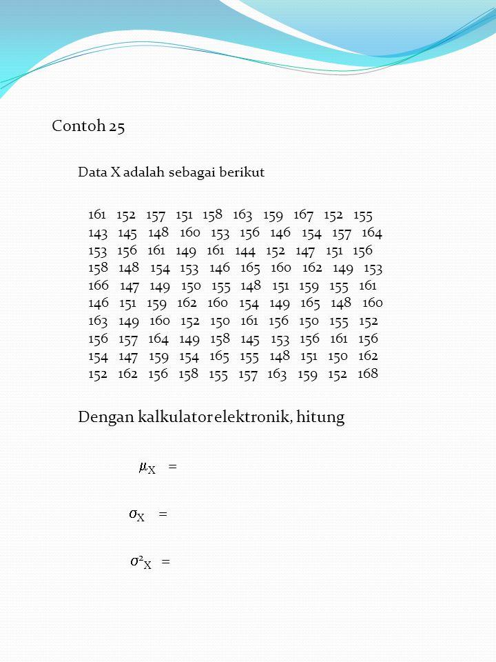 Dengan kalkulator elektronik, hitung X =