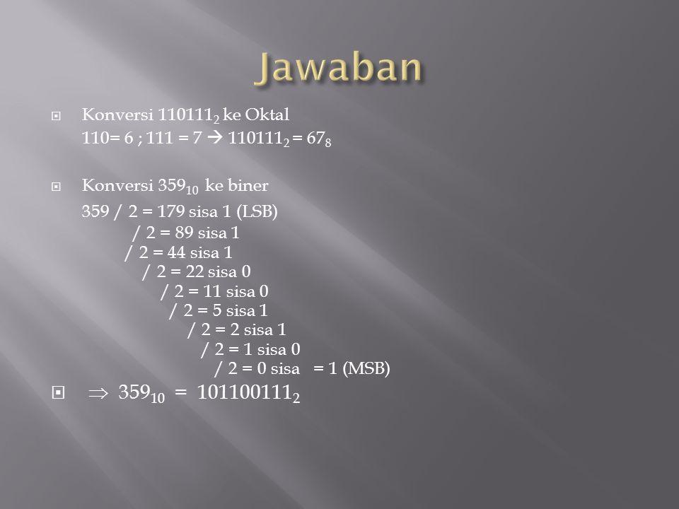 Jawaban  35910 = 1011001112 359 / 2 = 179 sisa 1 (LSB)