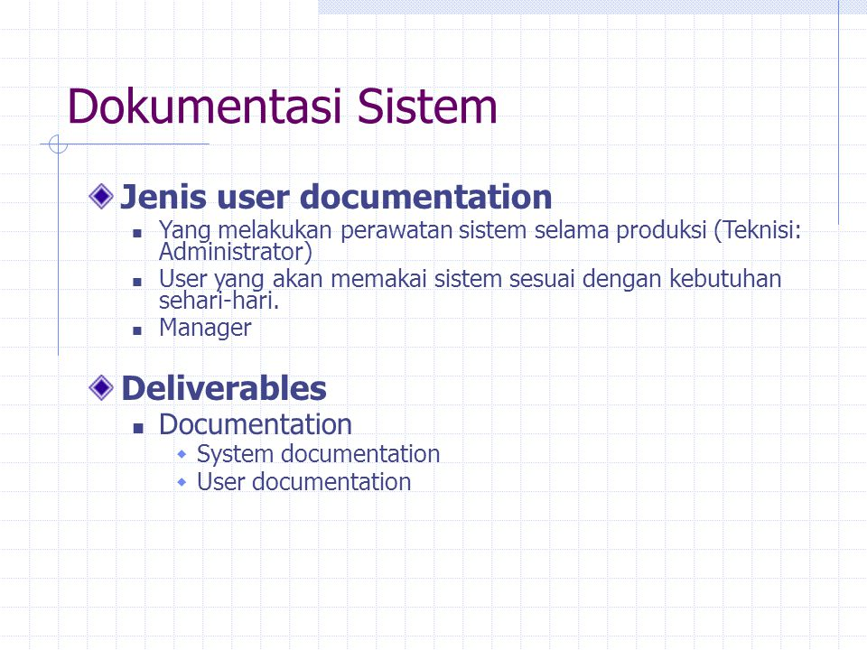 Dokumentasi Sistem Jenis user documentation Deliverables Documentation