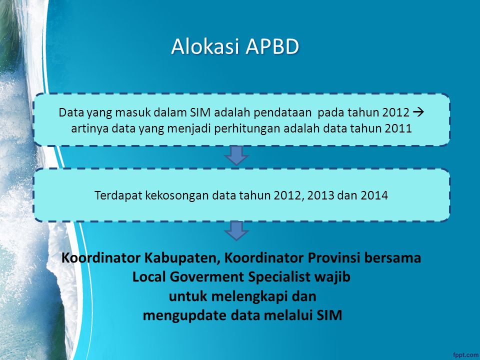 Alokasi APBD Koordinator Kabupaten, Koordinator Provinsi bersama