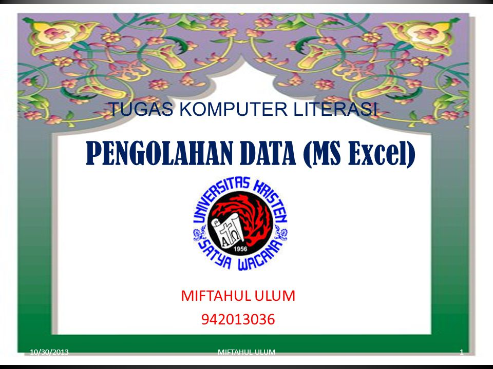 PENGOLAHAN DATA (MS Excel)
