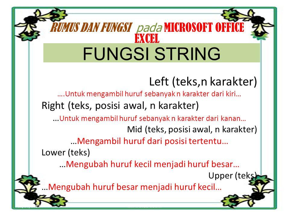 FUNGSI STRING Left (teks,n karakter)