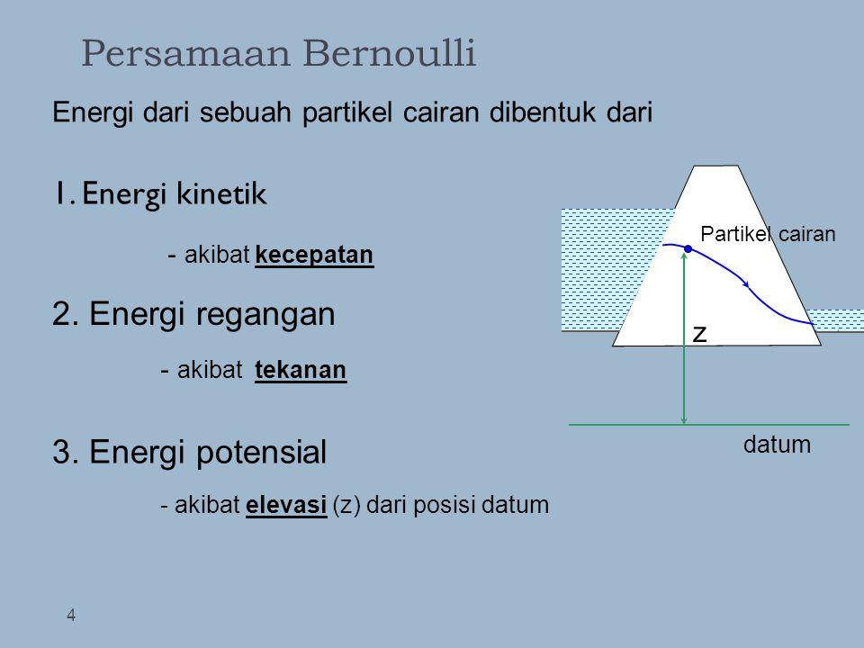 Persamaan Bernoulli 1. Energi kinetik 2. Energi regangan