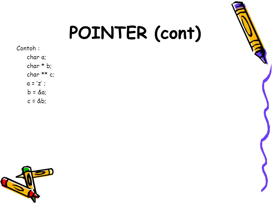 POINTER (cont) Contoh : char a; char * b; char ** c; a = 'z' ; b = &a;