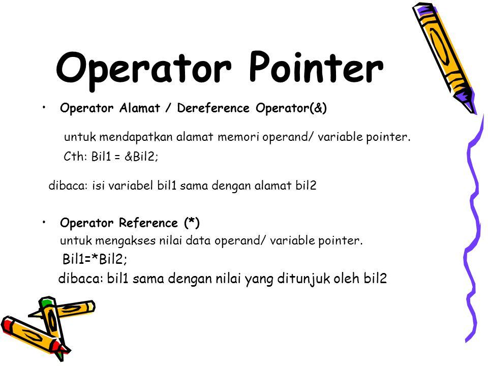 Operator Pointer dibaca: isi variabel bil1 sama dengan alamat bil2
