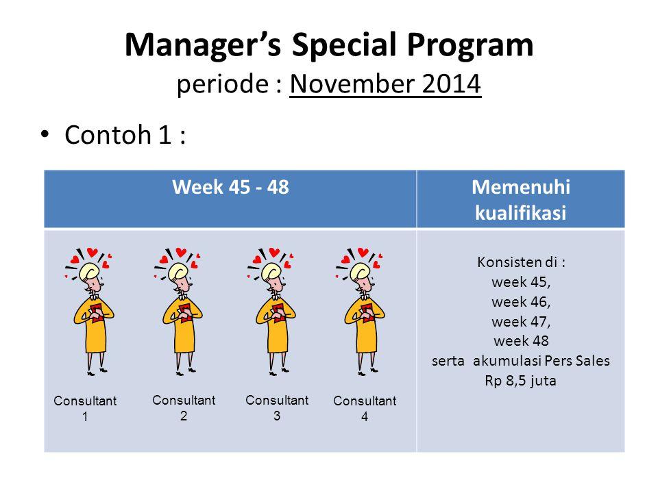 Manager's Special Program periode : November 2014