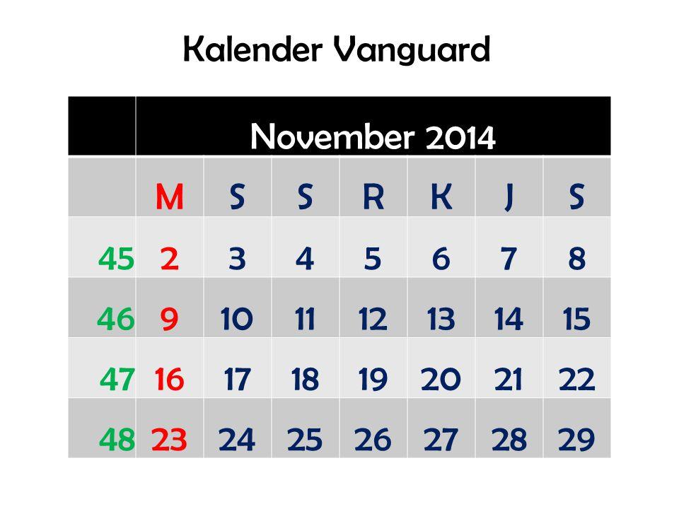 Kalender Vanguard November 2014. M. S. R. K. J. 45. 2. 3. 4. 5. 6. 7. 8. 46. 9. 10.