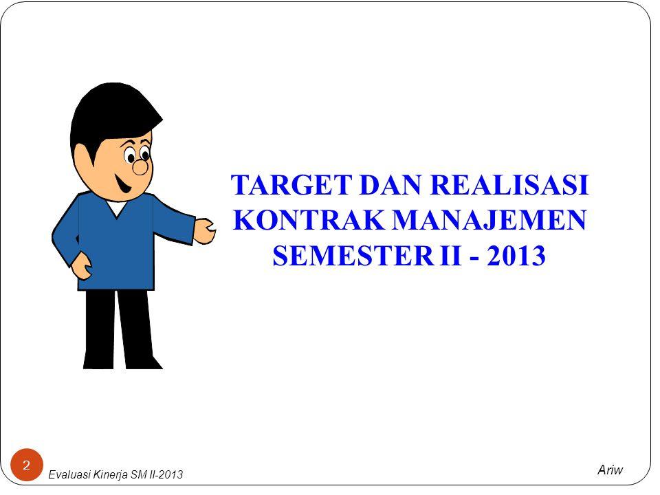 TARGET DAN REALISASI KONTRAK MANAJEMEN SEMESTER II - 2013