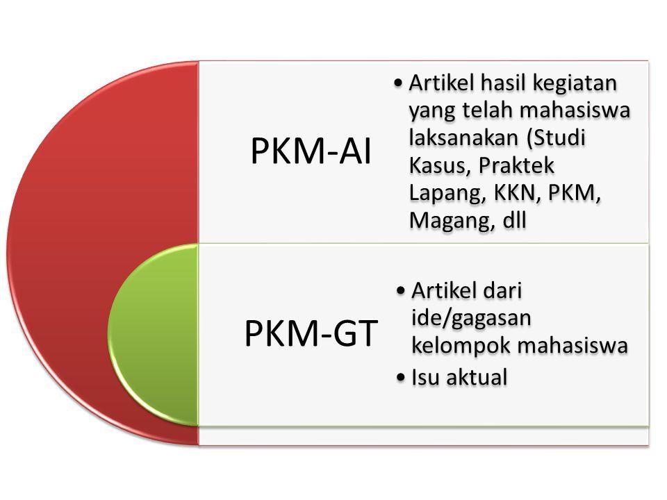 PKM-AI PKM-GT. Artikel hasil kegiatan yang telah mahasiswa laksanakan (Studi Kasus, Praktek Lapang, KKN, PKM, Magang, dll.