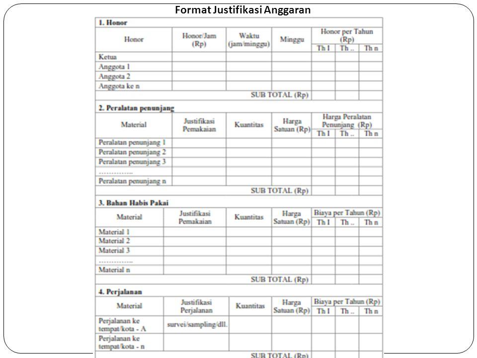 Format Justifikasi Anggaran
