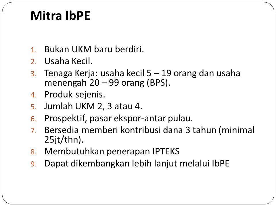 Mitra IbPE Bukan UKM baru berdiri. Usaha Kecil.