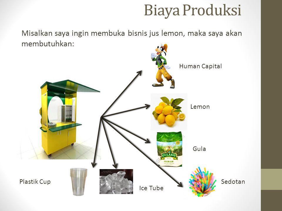 Biaya Produksi Misalkan saya ingin membuka bisnis jus lemon, maka saya akan membutuhkan: Human Capital.