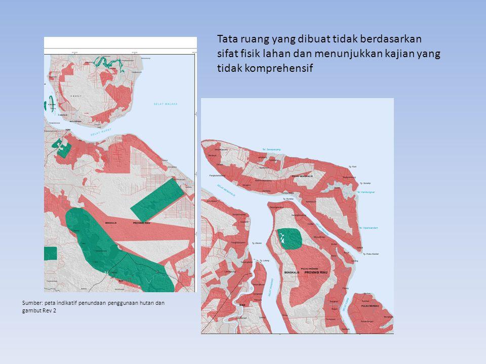 Tata ruang yang dibuat tidak berdasarkan sifat fisik lahan dan menunjukkan kajian yang tidak komprehensif