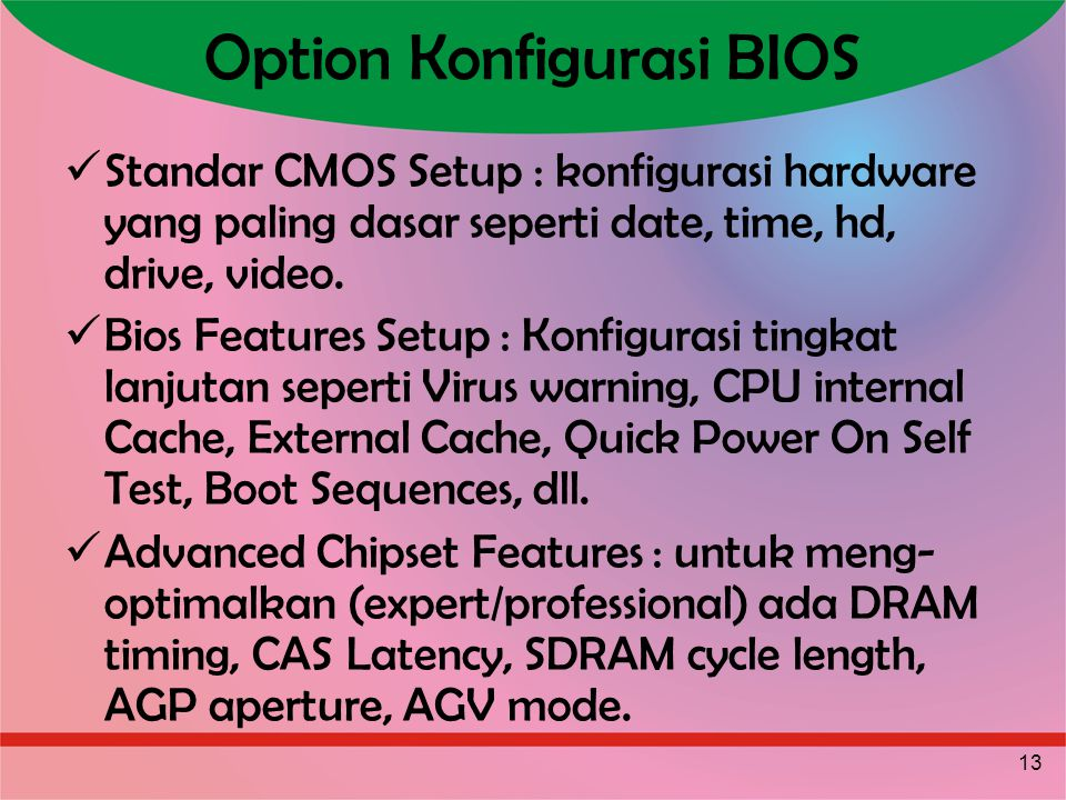 Option Konfigurasi BIOS