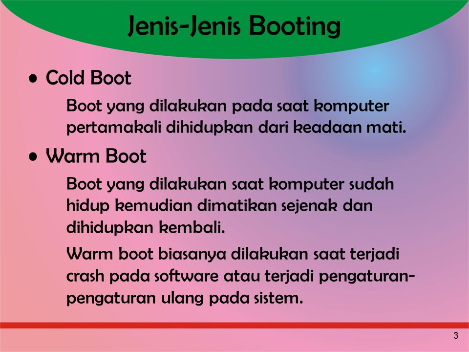 Jenis-Jenis Booting Cold Boot Warm Boot