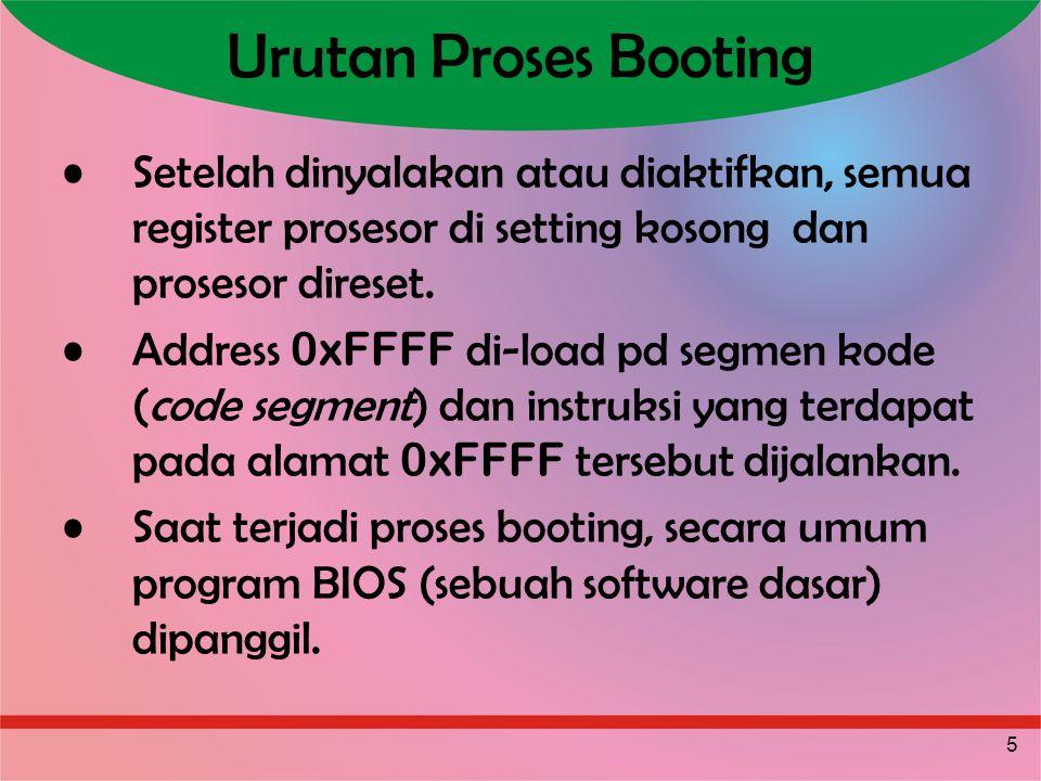Urutan Proses Booting Setelah dinyalakan atau diaktifkan, semua register prosesor di setting kosong dan prosesor direset.