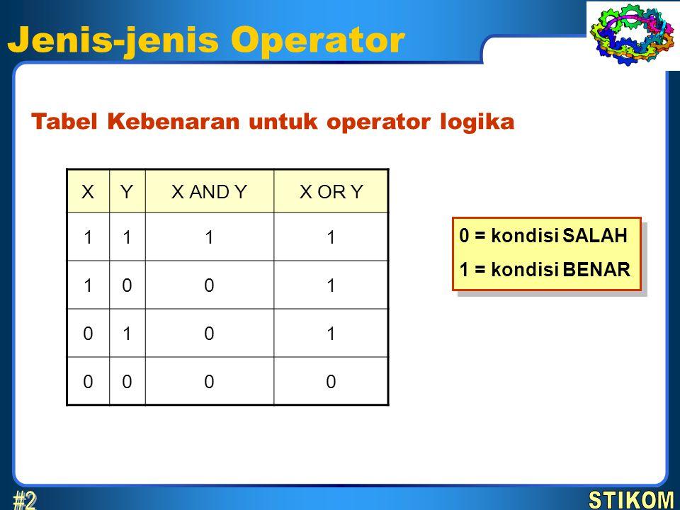 Jenis-jenis Operator #2 Tabel Kebenaran untuk operator logika X Y