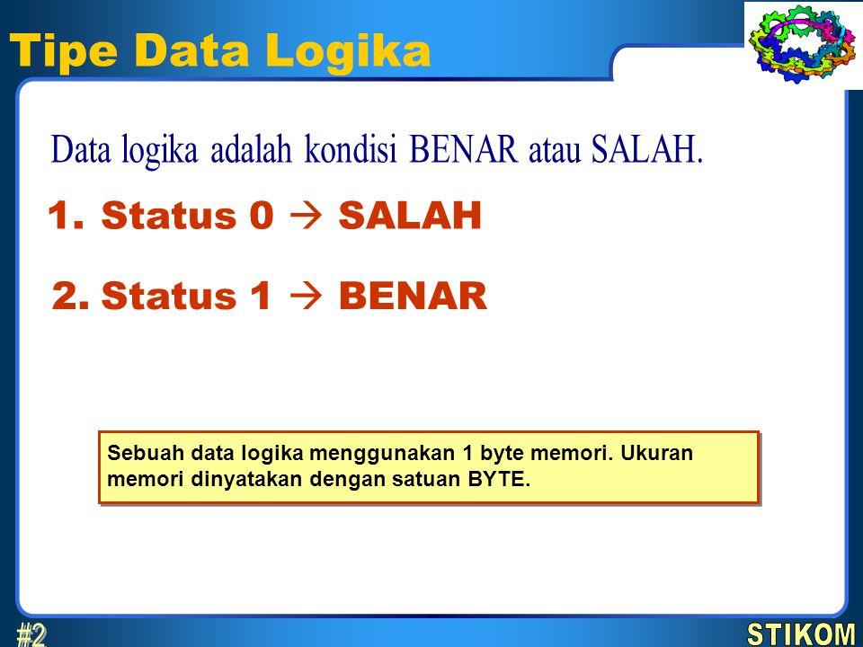 Data logika adalah kondisi BENAR atau SALAH.