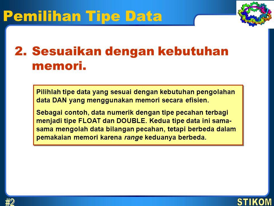 Pemilihan Tipe Data #2 2. Sesuaikan dengan kebutuhan memori. STIKOM