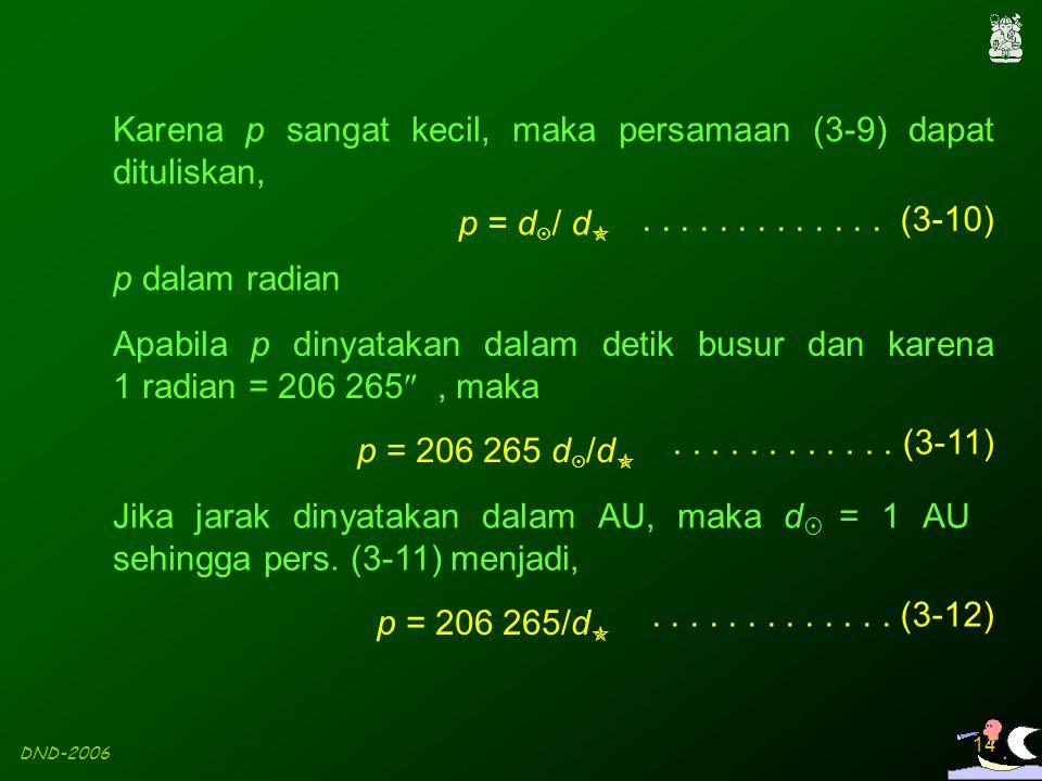 Karena p sangat kecil, maka persamaan (3-9) dapat dituliskan,