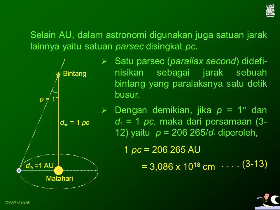 Selain AU, dalam astronomi digunakan juga satuan jarak lainnya yaitu satuan parsec disingkat pc.
